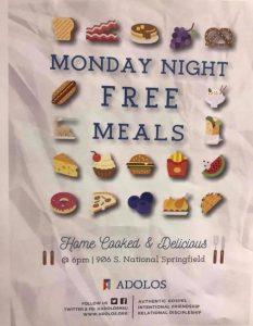 Monday night meals flyer Adolos BSU MSU